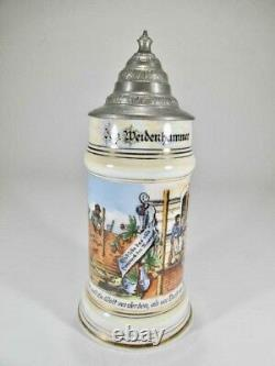 Masonic German hand painted lidded beer stein with lithophane Tankard (#1384)
