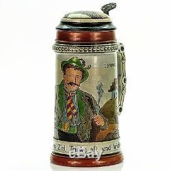 Matthias Girmscheid Antique Etched German Inlaid Lidded Beer Stein Drink Often