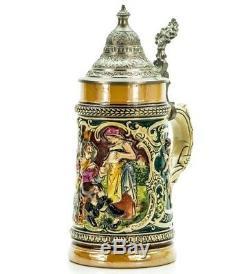 Matthias Girmscheid Antique German Mug Pewter Lidded Beer Stein ca 1900
