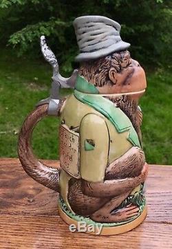 Matthias Girmscheid Monkey with Top Hat German Beer Stein, #828 (14)