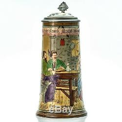 Matthias Girmscheid X27 Antique Etched German Inlaid Lid Lidded Beer Stein Mug