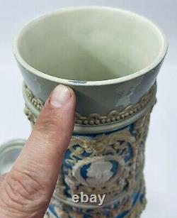 Mettlach 1247 Pokal 19.5 Antique German Beer Stein Collector Interest or Gift