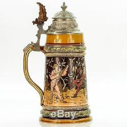 Mettlach 1527 Antique Etched German Lidded Beer Stein -Old German Drinking Group