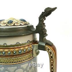 Mettlach 1734 2.1L Antique German Beer Stein LOVERS artist C Warth GIFT HISTORY