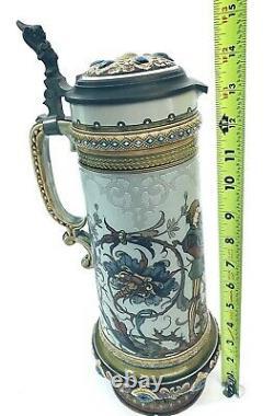 Mettlach 1734 Antique German Beer Stein Larger 2.1L LOVERS Wedding Gift C Warth