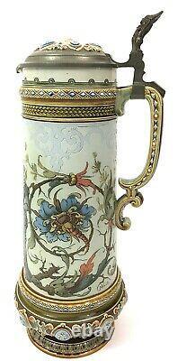 Mettlach 1734 Antique German Beer Stein Larger 2.1 L LOVERS Wedding Gift C Warth