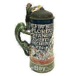 Mettlach # 1786 1 Liter Antique German Beer Stein St Florian Dragon NICE GIFT