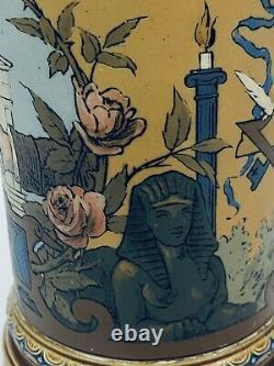 Mettlach 1819 Antique German Beer Stein Masonic Symbols Freemasons Mason Gift