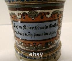 Mettlach. #1976. Antique German beer stein hand painted/etched 1990