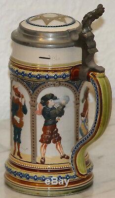 Mettlach 1/2L Knights German beer stein mold # 1809 Antique