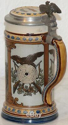 Mettlach 1/2L Schützenliesel German beer stein mold # 2235 Antique Target girl