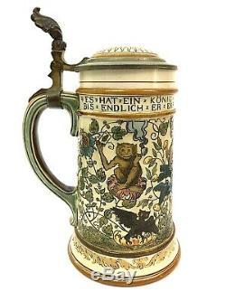Mettlach 2027 Gambrinus. 5 L Antique German Beer Stein Tankard The King of Beer