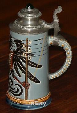 Mettlach 2075 Railroad Symbols 1/2 liter German beer stein antique repaired