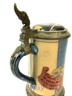 Mettlach # 2091 Antique German Beer Stein tankard Drinkers Fire St Florian Gift
