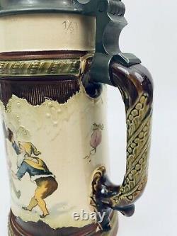 Mettlach 2184 967 Antique German Beer Stein Gnomes Drinking & Playing H. Schlitt