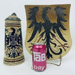 Mettlach 2204 & 2011 Antique 1L German Beer Stein & Imperial Eagle Shield Plaque
