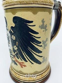 Mettlach 2204 Imperial Eagle. 5 Liter Antique German Beer Stein Inlay Lid Gift