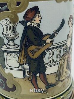 Mettlach 2285 Antique German Beer Stein Guitar Playing Inlay lid. 5L Love Music