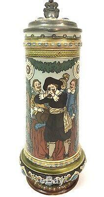 Mettlach 2482 Antique German Beer Stein Marksman Target Shooting Quidenus Gift