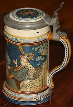 Mettlach 2581 Ladies Song & Music 1/2 liter German beer stein antique chip