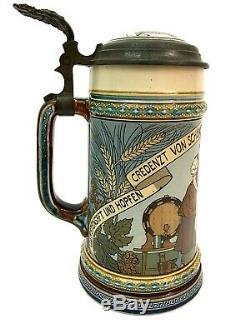 Mettlach # 2640 Antique German Beer Stein tankard Drinker with Saying German Gift