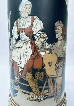 Mettlach 2692 Antique German Beer Stein 3 LITER Master Stein Villeroy Gift 16