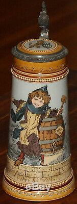 Mettlach 2767 Munich Child 1 liter German beer stein antique strong color