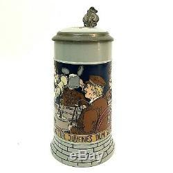 Mettlach 2833 F Antique German Beer Stein 1/2 Liter Tankard Christmas Gift NICE