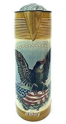 Mettlach 2893 / 1302 Antique German Beer Stein 3.25 Liters American Flag Eagle