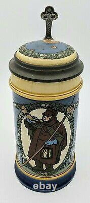 Mettlach 2937'The Night Watchman' Etched Antique German Beer Stein Etched Lid