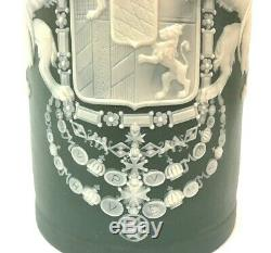Mettlach 2950 1L Bavarian Coat Arms Antique German Cameo Beer Stein Gift Decor