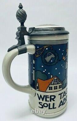 Mettlach 3170 Evening Strollers Hohlwein. 5L Antique German Beer Stein Gift Deco