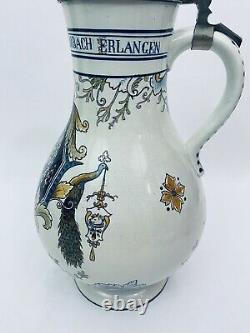 Mettlach 5001 Antique German 4.6L Master Beer Stein Coat of Arms Bavarian Cities