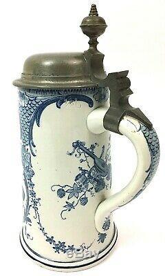 Mettlach 5006 / 5189 Antique German Beer Stein Delft Cheerful Drinker. 5 L Gift