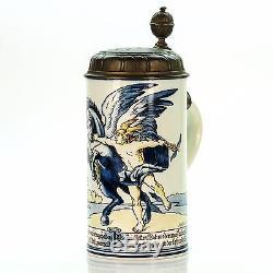 Mettlach 5024 / 5394 Antique Faience German Lidded Beer Stein Mercury 1901