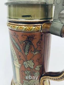 Mettlach Antique German Beer Stein 2693 Drinker with Hostess. 5L Inlay Soldier