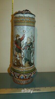 Mettlach Antique German Beer Stein Larger 2.1 L LOVERS #1734 C Warth Excellent
