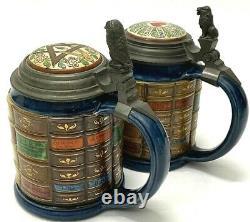 Mettlach Antique German Beer Stein Pair Book Steins Architect Natural Scientist
