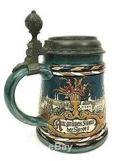 Mettlach Antique German Beer Stein featuring Berlin