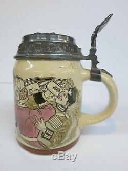 Mettlach Beer Stein Tankard 1526-1098 Uncle Sam German Soldiers Hofbräuhaus