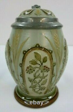 Mettlach Beer Stein Tankard 1917 German Mosaic Hops & Wheat Date 1896