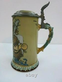 Mettlach Beer Stein Tankard 2100 H. Schlitt Prosit German s & Roman s Date 1897