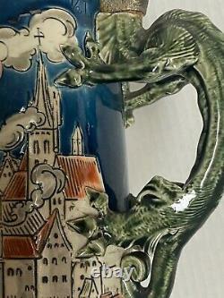 Mettlach Stein #1786 St Florian Beer Stein Dragon 1/2L German
