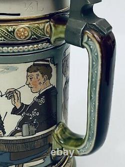 Mettlach Stein 2051 Student Banquet. 5L Antique German Beer Stein Gift Lid Inlay