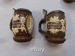 Mettlach Villeroy & Boch German Beer Stein Catalog 1028 Harvest Set of 7