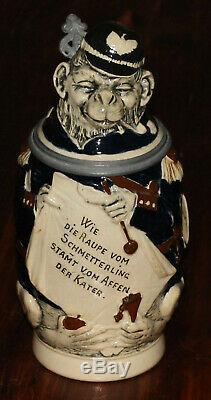 Monkey Soldier 1/2 L German character beer stein antique # 769 by J. W. Remy