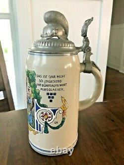 Named German Calvary Military Regimental Beer Stein Tankard 1 Ltr Antique