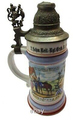 Nice Looking ½ Liter German REGIMENTAL Lidded Beer Stein withLithophane Bottom