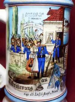 Old Antique GERMAN MILITARY REGIMENTAL 1/2 L BEER STEIN Lithophane Prism Lid