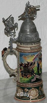 Old Antique German Regimental Artilery Lidded Beer Stein horse rider + canon lid